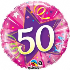 50th Birthday Shining Star Hot Pink Foil Balloon 18""